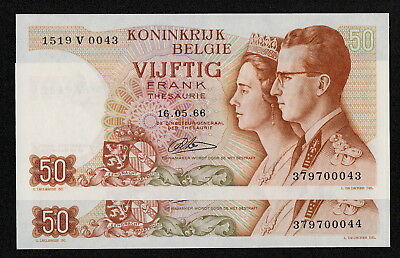 BELGIUM (P139) 50 Francs 1966 UNC sign. Lauwerijns consecutive pair