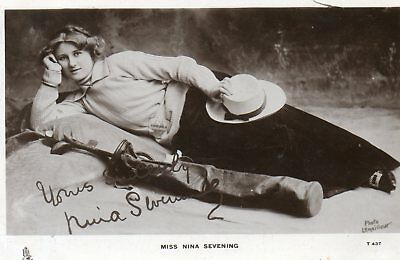 Edwardian Actress,Miss Nina Sevening,(Tuck's Photographic Postcard)See Scans