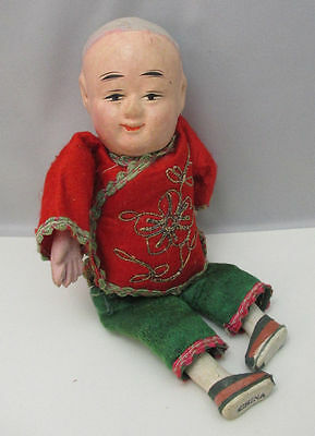 Very Old Chinese Boy Doll Handpainted Burlap Body Stuffed With Sawdust **