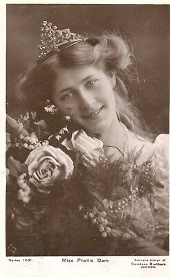 Edwardian Actress,Miss Phyllis Dare No2,Photographic Postcard See Scans