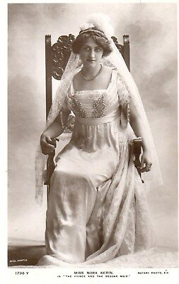 Edwardian Actress,Miss Nora Kerin,Photographic Postcard See Scans