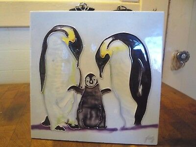 Large EMPERIOR PENGUIN family decorative Tile art signed Ping wall plaque or eas