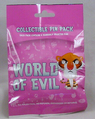 Disney Pin Collectible WORLD OF EVIL Mystery Pack Randomly SEALED Set of 5