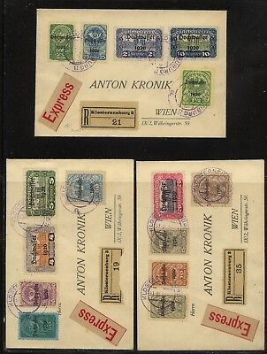 Austria   3  express  registered    covers  with  overprinted stamps      KL1008