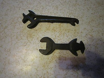 (2) Antique Open End Wrenches! Auto Tool Kit 3-way, one marked 206 cast iron