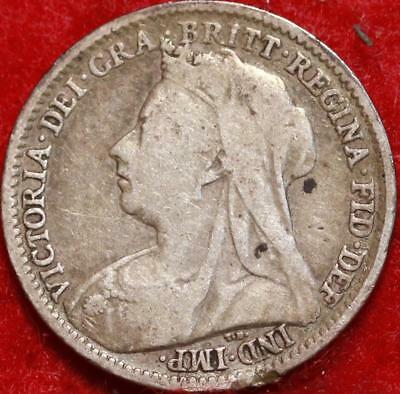1895 Great Britain 3 Pence Silver Foreign Coin Free S/H