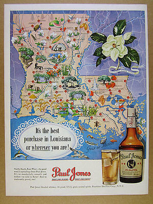 1950 Louisiana map cities landmarks art Paul Jones Whiskey vintage print Ad