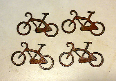 """Lot of 4 Bike Bicycle Shapes 3"""" Rusty Metal Vintage Stencil Craft Sport Ride"""