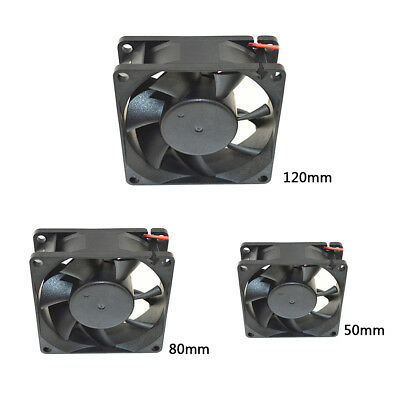 DC 12V Black 50mm 80mm 120mm Square Plastic Cooling Fan For Computer PC Case