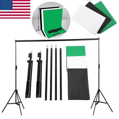 Photography Studio Black White Green Backdrops Settings Background Stand Kit Set