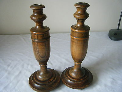 Nice Pair English Oak Or Possibly Elm Vintage Candlesticks Brass Sconces