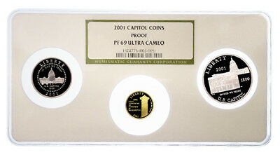 USA Capitol Visitors Center 3 Coins 2001 Proof Gold & Silver NGC PF69UCAM