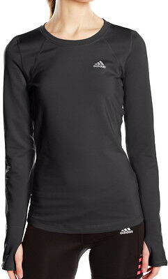 Adidas Tech-Fit ClimaWarm Long Sleeve Ladies Running Top - Black