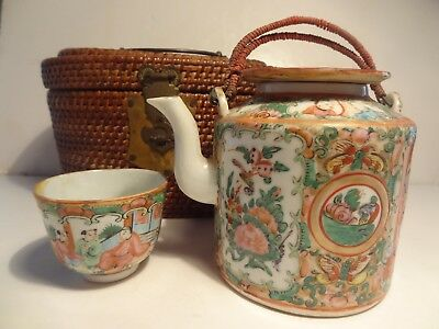Antique Rose Medallion Chinese Tea Pot Cup in Wicker Basket  Ex. cond 1850-1890