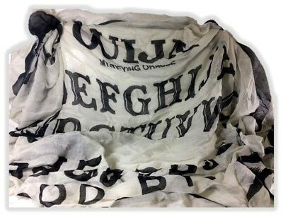 Ouija Board Game Fashion Viscose Scarf Spooky Spirits Demons Grey N' Black