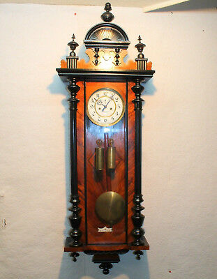 Antique Wall Clock Regulator 2 weight Vienna Burr Walnut Clock *GUSTAV BECKER*