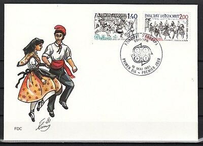 Andorra, Fr, Scott cat. 286-287. Europa issue. Dancers. First day cover.