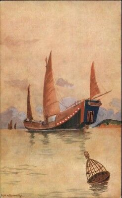 Chinese Junk Ship Series Publ by Kelly/Walsh Shanghai China Postcard