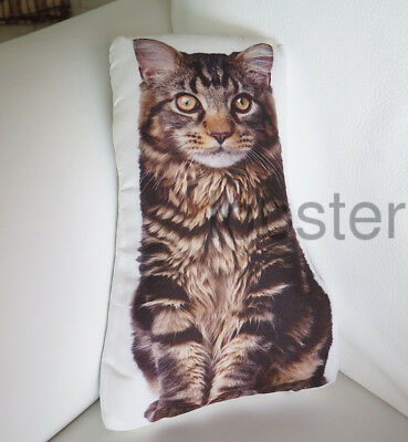 "KITTY CAT PILLOW Brown Tan Long Hair Photograph on fabric 14"" zipper cover"