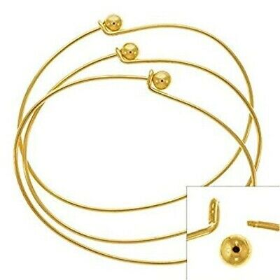 2 Gold Plated Oval Beading Bangle Bracelets / Add Beads & Charms!
