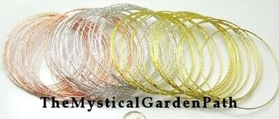60 Assorted Silver, Gold, Copper Finished Steel Bangle Bracelets `