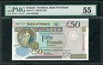1995 IRELAND NORTHERN, BANK OF IRELAND 50 PONDS PCK # 77a PMG 55 PLEASE LQQK!!*
