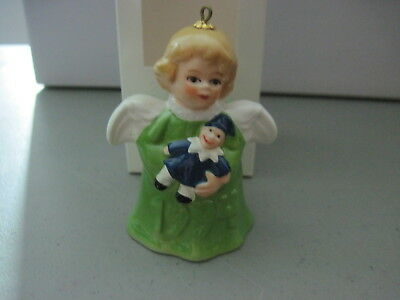 1994 Goebel ANGEL BELL ORNAMENT Green with Clown Doll in Box