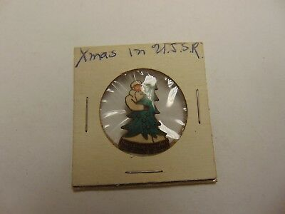 Old Rare Vintage Pinback Christmas In Ussr Russia