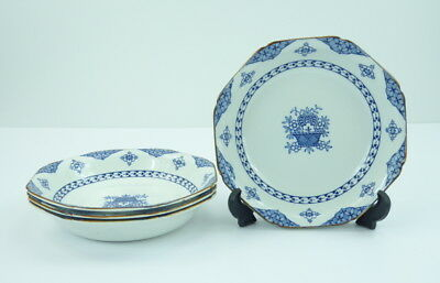 Wood and Sons Blue Bombay Set Of 4 Soup Cereal Bowls Coupe England Ware Flowers