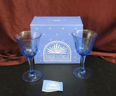 Avon American Blue Classic Collection Pair of Water Goblets NEW