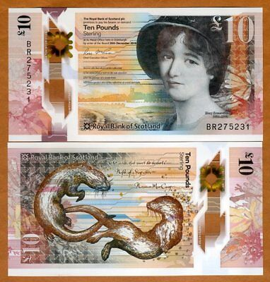 Royal Bank of Scotland, 10 pounds,  2017 P-New, POLYMER, UNC > Mary Somerville