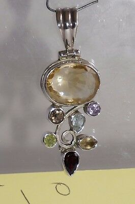 Citrine Smokey Amethyst garnet topaz mixed Pendant Crystal Gemstone Necklace
