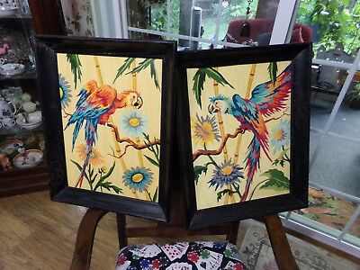 "Vintage Pair Of 19""X15"" Paint By Number Parrots In Wood Frames PBN Tropical"