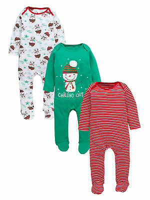 Ladybird Baby Boys Pack of Three Christmas Sleepsuits in Multi Size 0-3 Months