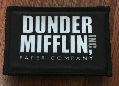 Dunder Mifflin Morale Patch Funny Tactical Military Army USA Flag Badge Hook