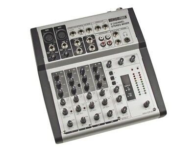 Table De Mixage Dj Mixer Stereo 6 Canaux 2 Mic 4 Line Effets Reverb Echo Micro