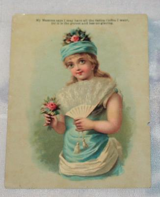 Antique Vintage Trade Card Little Girl Sarica Coffee Fan Flowers Hat Blue As-Is