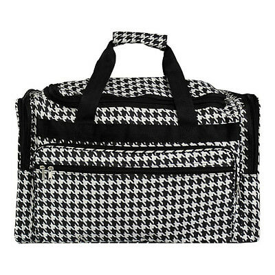 "World Traveler Houndstooth 22"" Travel Duffle Bag 3 Colors Rolling Duffel NEW"