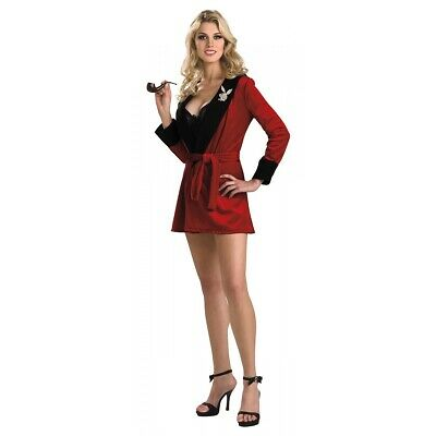 Hugh Hefner Robe Adult Playboy Costume Red Smoking Jacket Fancy Dress