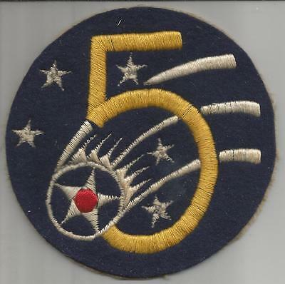 """Aussie Made 4-1/2"""" WW 2 US Army Air Forces 5th Air Force Jacket Patch Inv# H130"""