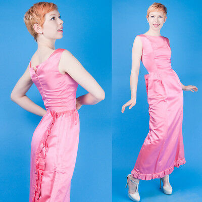 MATERIAL GIRL Vtg 50s.60s PINK SATIN PROM/PARTY MAXI DRESS XS/S