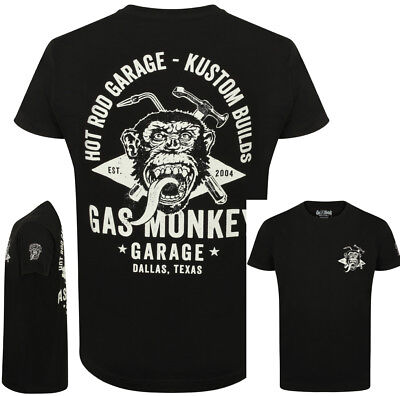Official Gas Monkey Garage Mens Torch & Hammer T-Shirt Deluxe Version GMG