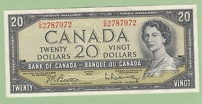 1954 Bank of Canada 20 Dollar Note - Beattie/Rasminsky - C/W2787972 - AU