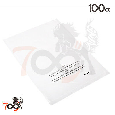 100 1 Mil 9x12 Owlpack Clear Poly Plastic Open End Suffocation Warning FBA Bag