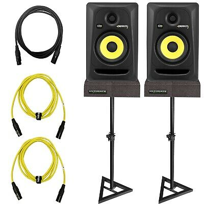 "KRK Rokit G3 RP5G3 5"" Powered Active Studio Monitors + Stands + Cables Package"