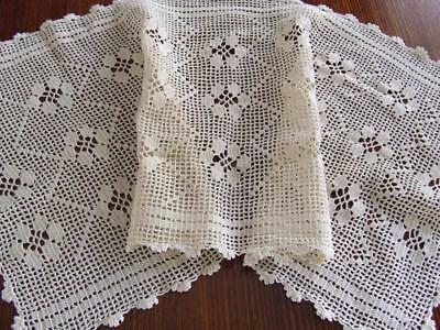 Beautiful Cream Hand Crocheted Vintage Table Runner Worked in a Filet Pattern
