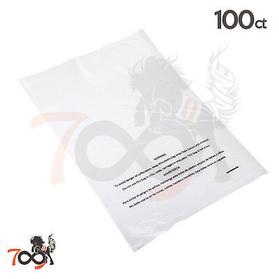 100 2 Mil 10x15 Owlpack Clear Poly Plastic Open End Suffocation Warning FBA Bag