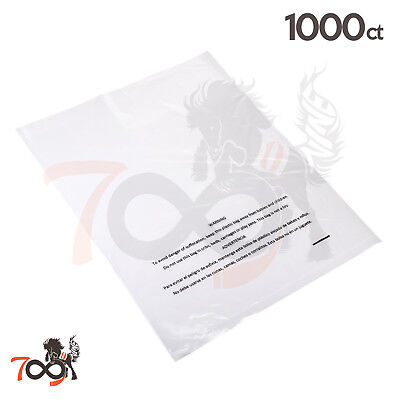 1000 2 Mil 11x14 Owlpack Clear Poly Plastic Open End Suffocation Warning FBA Bag