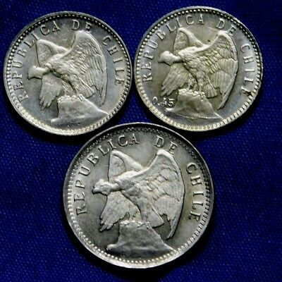 Unc 1908, 1915, 1919  3X Silver Coins Chile  2X 5 Centsand A 10 Centavo A23-892