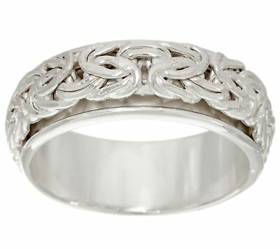 Polished Framed Spinner Byzantine Band Ring Real 925 Sterling Silver QVC Sz 5 6